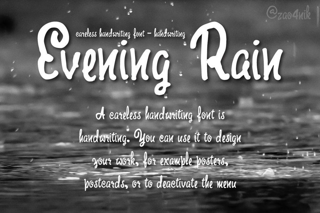 Evening Rain [1 Font + Extras] | The Fonts Master